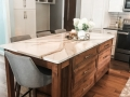 White painted Maple Cabinetry, Stained Alder Island, Cambria Countertops, Slate Appliances, Stacked Subway tile, glass pendants, golden champagne cabinetry pulls and accessories, custom kitchen design by Inspiring Interiors