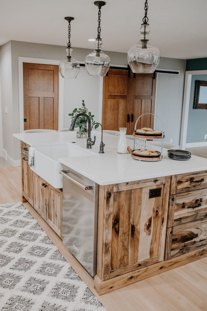 Island in Rustic Ranch Kitchen